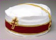 A circular white cap with a red band