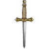 A dagger with a hilt of gold and a blade of silver