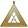 Three gold concentric triangles enclosing two crossed swords