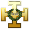 A golden Teutonic Cross with the letters XXXII
